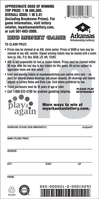 Arkansas Lottery Instant Ticket - Big Money Game