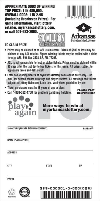 Arkansas Lottery Instant Ticket - $10 Million Cash Spectacular