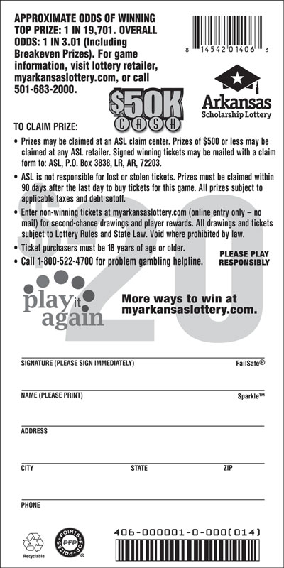 Arkansas Lottery Instant Ticket - $50K Cash