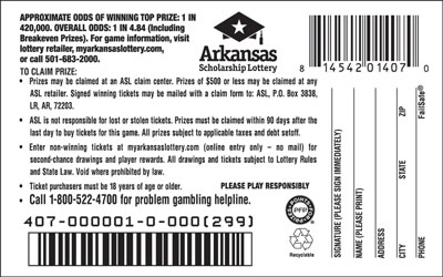 Arkansas Lottery Instant Ticket - Fast Money