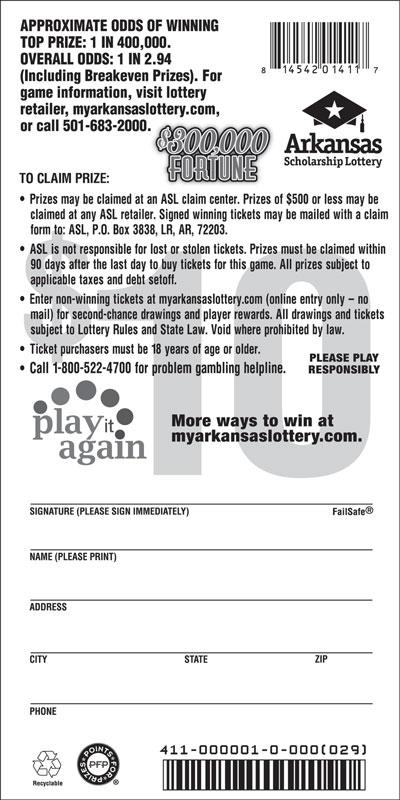 Arkansas Lottery Instant Ticket - $300,000 Fortune