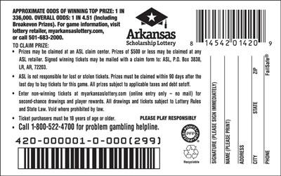 arkansas lottery instant ticket 1 lottery ticket