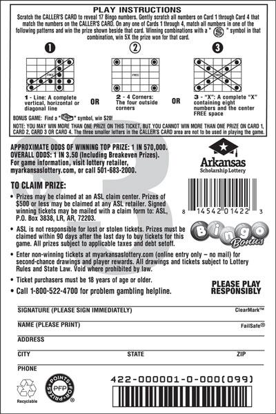 Arkansas Lottery Instant Ticket - Bingo Bonus