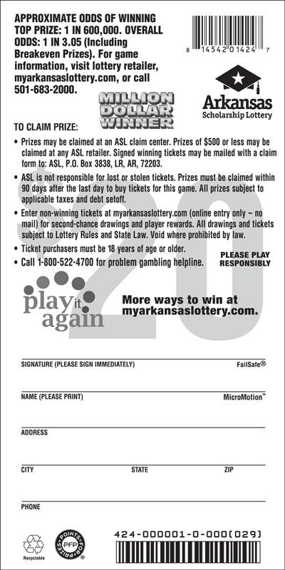 Arkansas Lottery Instant Ticket - Million Dollar Winner