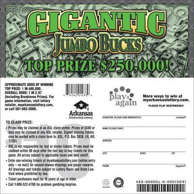 Arkansas Lottery Instant Ticket - Gigantic Jumbo Bucks