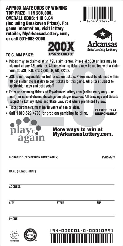 200X Payout | Arkansas Scholarship Lottery