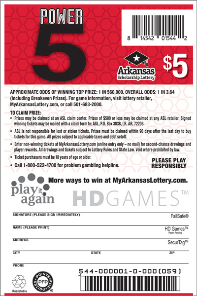 Power 5- Game No. 544 - Back
