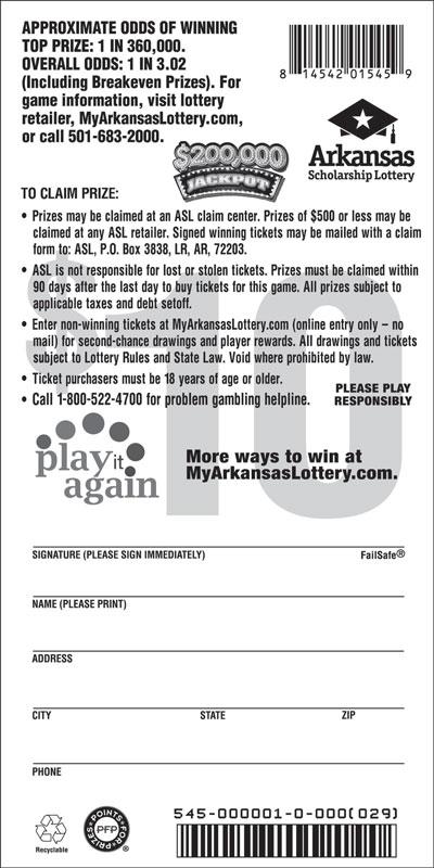 $200,000 Jackpot - Game No. 545 - Back