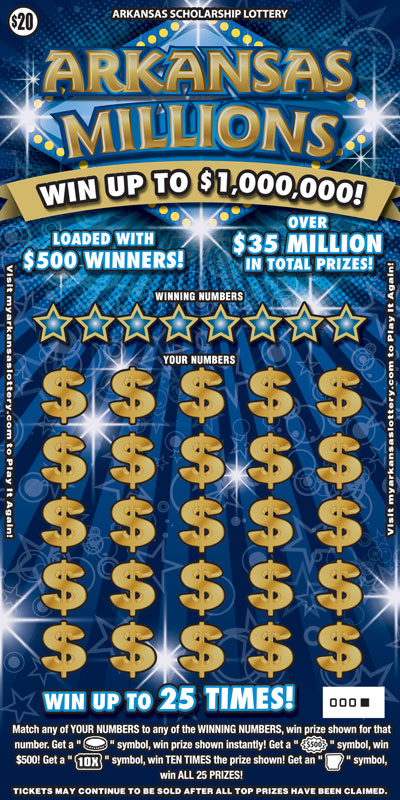 Arkansas Lottery Instant Ticket - Arkansas Millions
