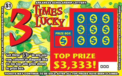 Arkansas Lottery Instant Ticket - 3 Times Lucky