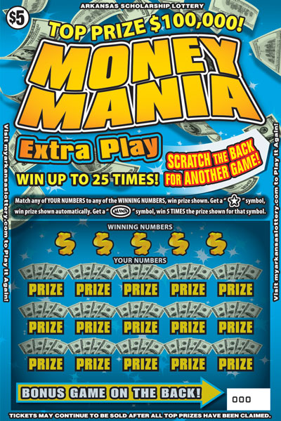 Arkansas Lottery Instant Ticket - Money Mania Extra Play