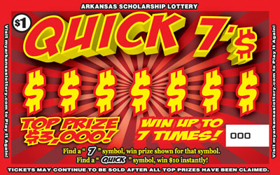 Arkansas Lottery Instant Ticket - Quick 7'$