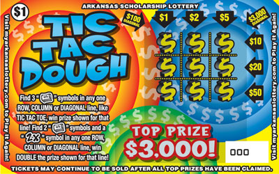 Arkansas Lottery Instant Ticket - Tic Tac Dough