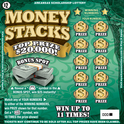 Arkansas Lottery Instant Ticket - Money Stacks
