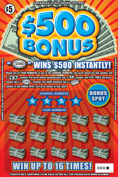 Arkansas Lottery Instant Ticket - $500 Bonus