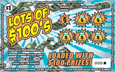 Arkansas Lottery Instant Ticket - Lots of $100's