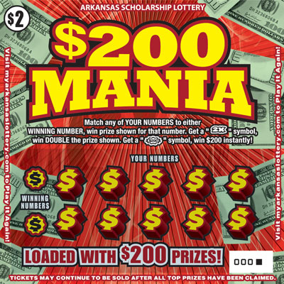Arkansas Lottery Instant Ticket - $200 Mania