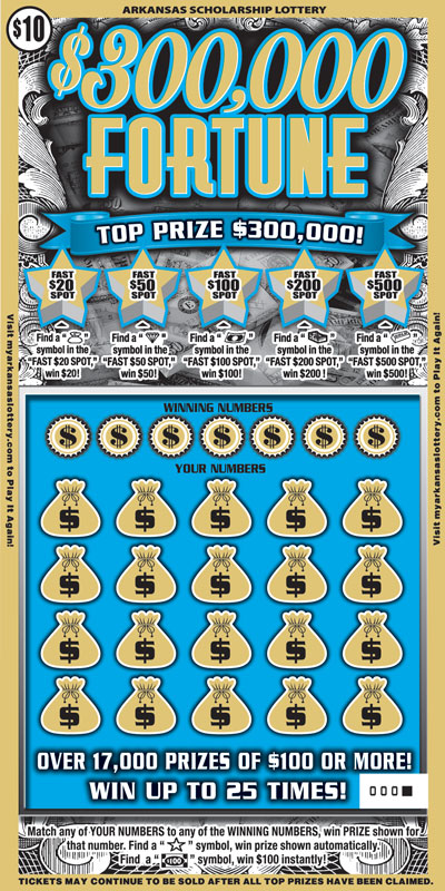 Arkansas Lottery Instant Ticket - $300,000 Fortune