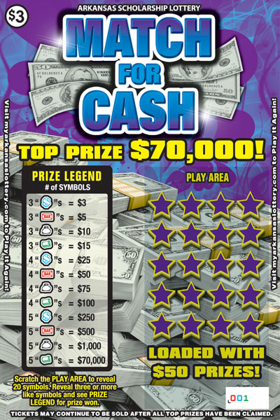Arkansas Lottery Instant Ticket - Match for Cash