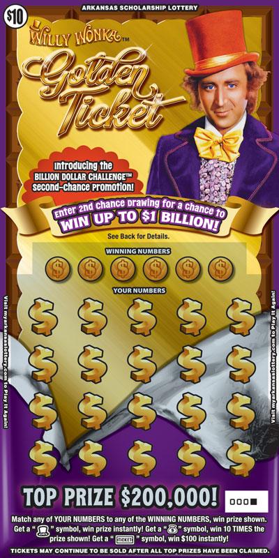 Arkansas Lottery Instant Ticket - Willy Wonka Golden Ticket™