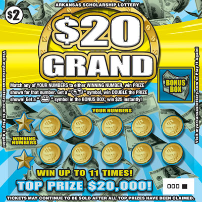 Arkansas Lottery Instant Ticket - $20 Grand
