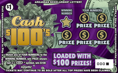 Arkansas Lottery Instant Ticket - Cash $100's