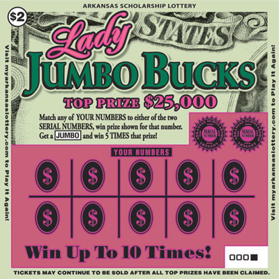 Arkansas Lottery Instant Ticket - Lady Jumbo Bucks