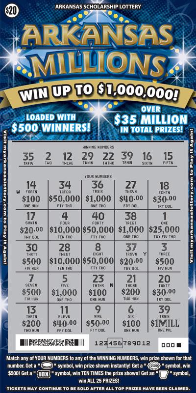 Arkansas Lottery Instant Ticket - Arkansas Millions