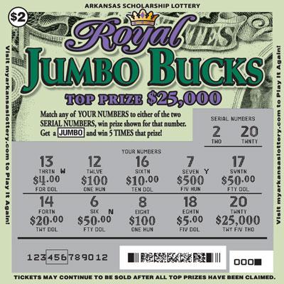 Arkansas Lottery Instant Ticket - Royal Jumbo Bucks