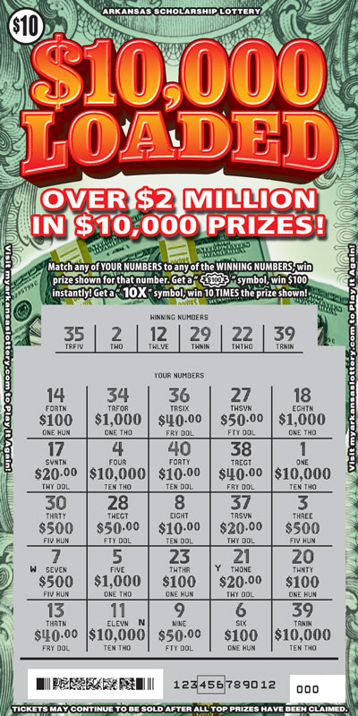 Arkansas Lottery Instant Ticket - $10,000 Loaded