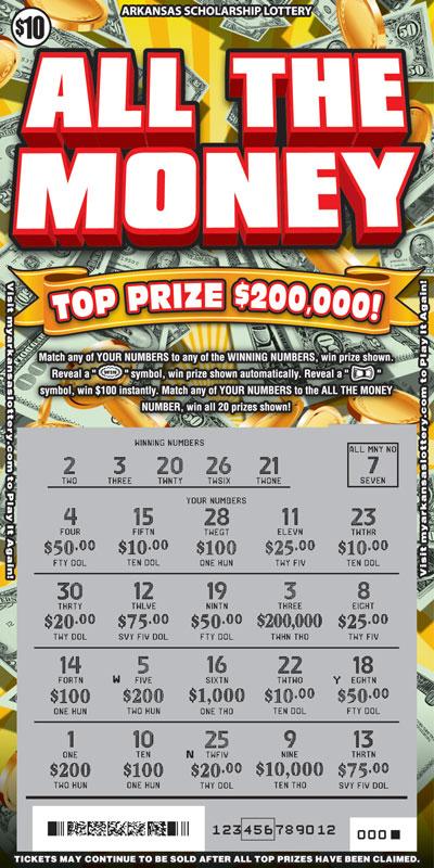 Arkansas Lottery Instant Ticket - All The Money