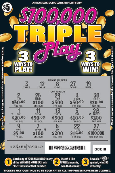 Arkansas Lottery Instant Ticket - $100,000 Triple Play