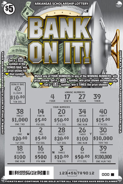 Arkansas Lottery Instant Ticket - Bank On It!