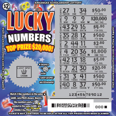 Arkansas Lottery Instant Ticket - Lucky Numbers