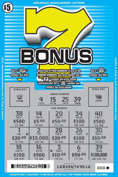 Arkansas Lottery Instant Ticket - Bonus 7