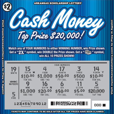 Arkansas Lottery Instant Ticket - Cash Money