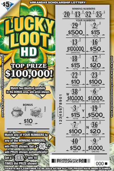 Arkansas Lottery Instant Ticket - Lucky Loot HD