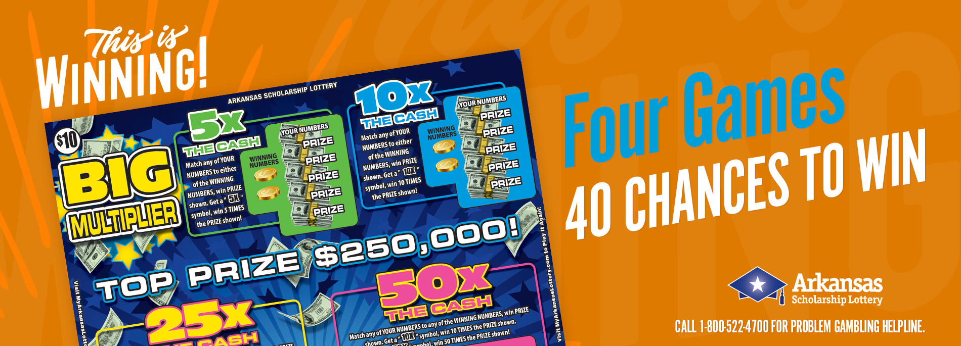 The Big Multiplier ticket has four games and 40 ways to win!